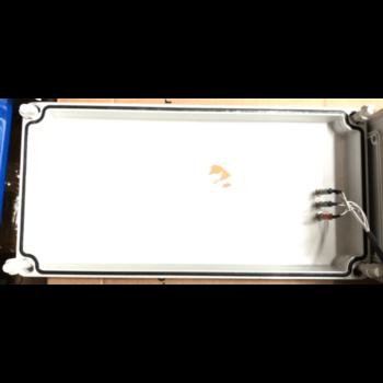 plastová rozvodnice 360×160×140 mm s DIN lištou a dvěma kabelovými průchodkami